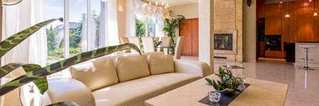 広々 とした明るい部屋でエレガントな革のソファ