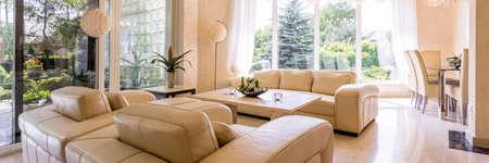 Elegant leather living room set in beige color
