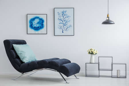 Big blue pillow on black chaise lounge with inspiring pictures above in white relax room