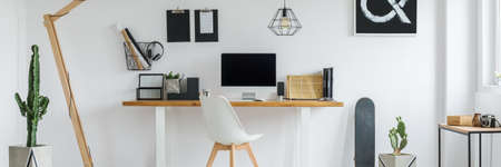 home office interior: Bright, minimalist home office for single person