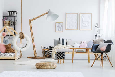 Cute stylish scandi room of girl with bunny poster