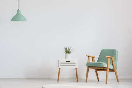 Photo of white wooden cupboard with fresh plant and mint lampshade