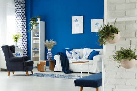 Modern designed living room with blue wall and accessories
