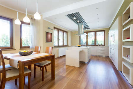 Spacious modern kitchen designed in minimalistic style. Dining hall connected with kitchen