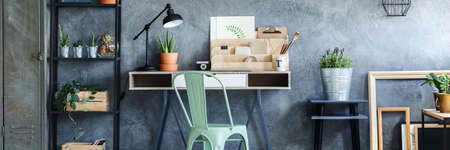 Creative hipster studio with stylish metal furniture Stock Photo