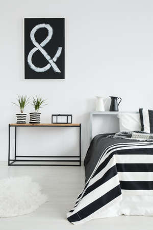 white wood floor: Black and white milk jug and two plants in striped material pots in cozy black and white bedroom with king-size bed Stock Photo