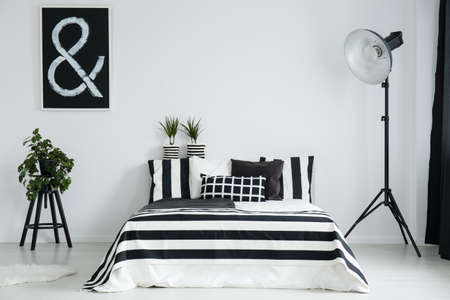 white wood floor: Black picture with white sign above plant in black flower pot on wooden stool next to bed
