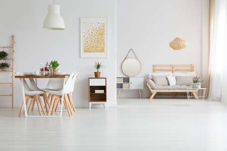 modern living room: View of trendy white lagom loft
