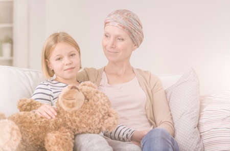 Emotional bond between daughter and mother with malignant cancer
