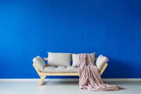 2 つのクッションと仮眠室の掌に設計されたインテリアのクラレット毛布でモダンなソファ