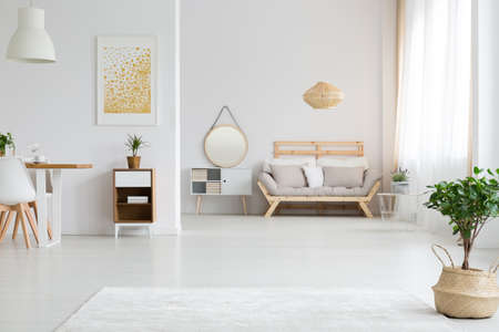 View of stylish white apartment design in lagom style Фото со стока