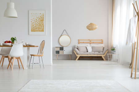 View of trendy lagom interior design in white