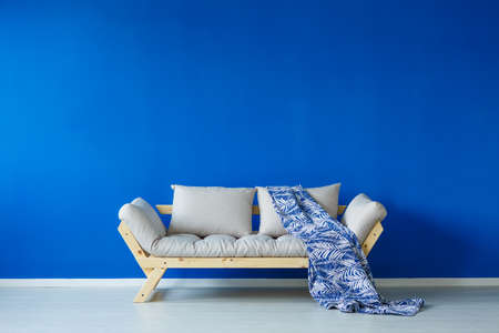 modern living room: Stylish couch with a patterned blanket, in a blue, spacious day room