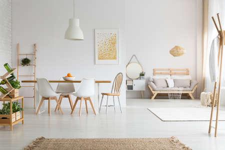 modern living room: View of white stylish lagom apartment