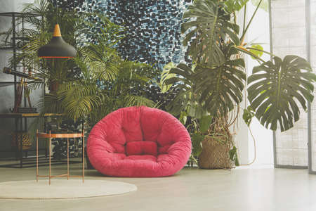 Room with pink plush armchair, plants and vintage furniture Stock Photo