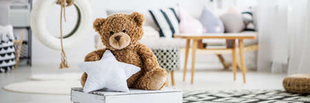 Big teddy bear holding a pillow star in girly room