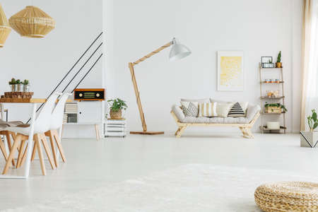 White open space in modern apartment with vintage radio Stock fotó