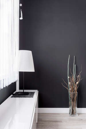 Simple lamp with white lampshade in black room