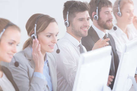 Group of call center agents focused at work Stockfoto
