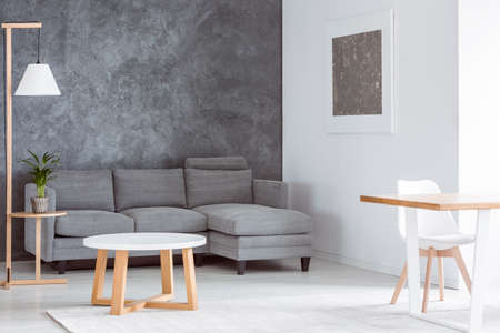 Plant on wooden stool and lamp in multifunctional living room with coffee table, grey couch and dining table
