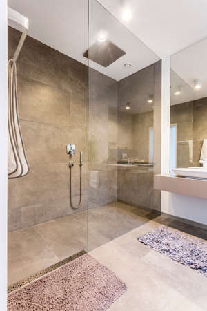Spacious shower cabin in a stylish bathroom