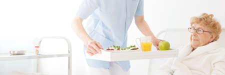 Verpleegster die een gezonde, speciale dieetmaaltijd voor een oudere vrouw in een pension huis aanbiedt