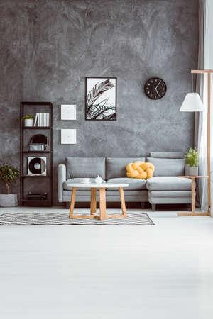 Ruime woonkamer met koffietafel op tapijt in Skandinavische stijl en grijze bank tegen concrete muur Stockfoto