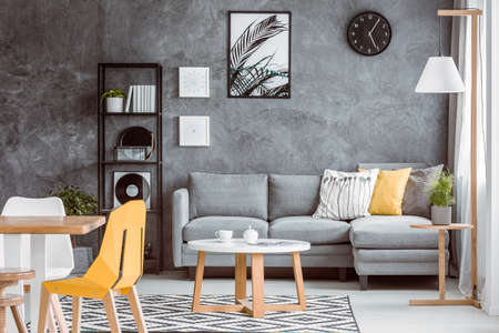Superbe Multifunctional Living Room With Dining Table And Plant On Wooden Stool  Near Grey Couch Set With