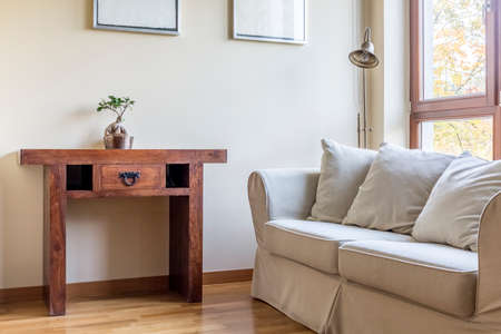 Simple neutral room with wood oriental table and bonsai