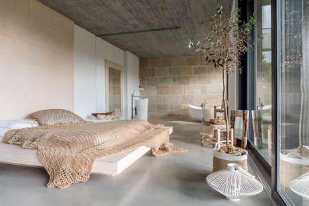 Modern luxury bedroom in a minimalist villa