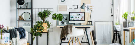 Panorama Of Stylish Home Office Interior With Modern Furniture In Scandi  Style Stock Photo   84779258