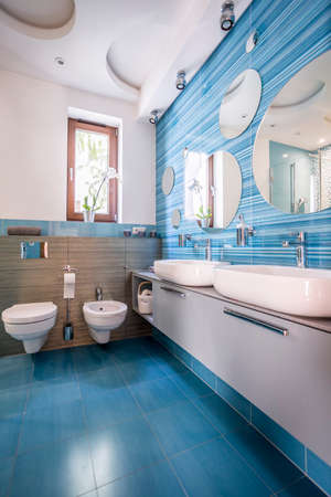 Contemporary bathroom with blue decorative tiles and round mirrors