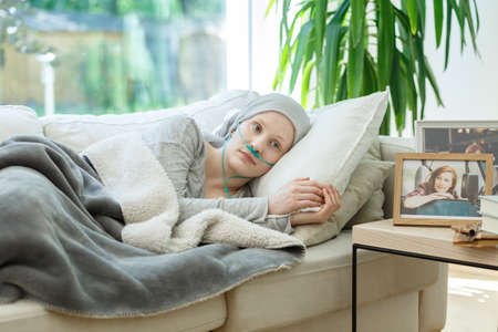 Woman waiting for cancer remission to come back to normal life Stock fotó