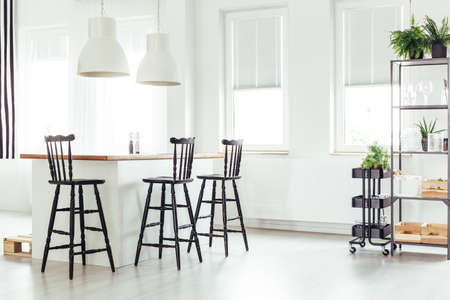White lamps above kitchen island under a window with black bar stools in bright room with plants