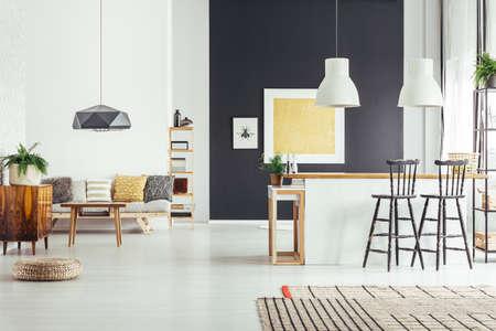 소파에 베란다와 부엌 섬이있는 넓은 방에서 검은 벽에 금색 페인팅