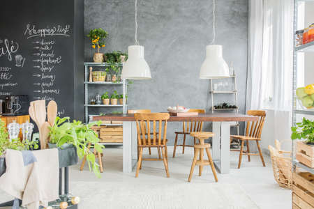 Open Dining Room With Big Family Table And Chalkboard Accents - Chalkboard accents dining rooms
