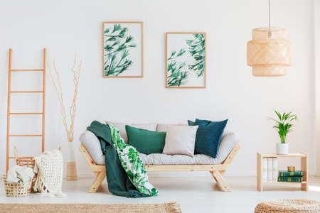 Plant on wooden table in neutral living room with green pillows on beige sofa and paintings on wall Stockfoto