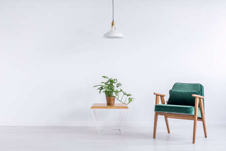 White lamp above table with plant in copper bucket and green vintage armchair with pillow in empty living room Stok Fotoğraf