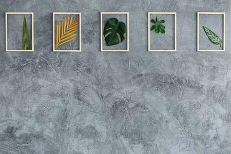 灰色の壁に掛かっている明るい木製のフレームの新鮮な葉