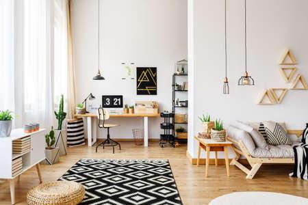 創造的なデザイン、三角棚、工業用ペンダントランプ、木製家具、パターン付きラグ、硬材の床、ソファ、デスクが備わるオープンアパートメント