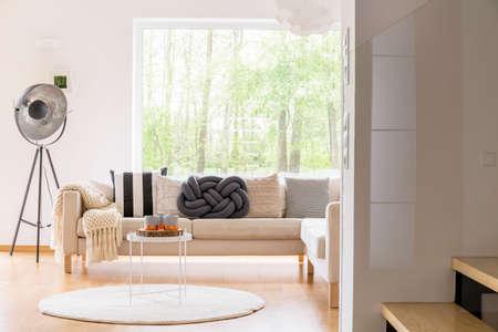 Stijlvolle lamp in de buurt van beige bankstel met gevlochten deken en zwart kussen in de gezellige woonkamer