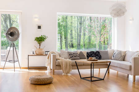 Designed lamp, braided pouf and small tree in spacious living room with view on forest Stock Photo