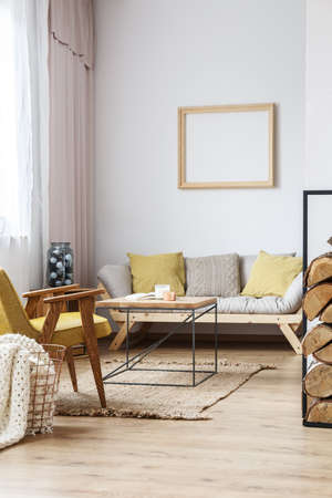 Cozy living room in bright loft with decorative wooden frame above sofa and designer coffee table