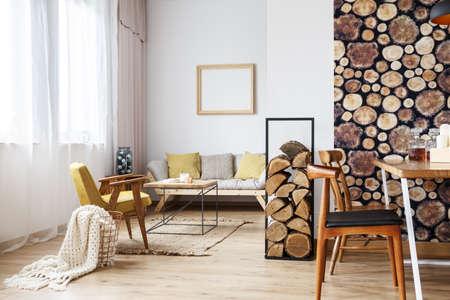 Cozy Rustic Design Of Spacious Warm Loft Interior With Wooden ...