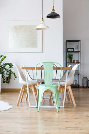 Lamps Above Table With White And Mint Chairs On Wooden Floor Stock Inspiration Flooring For Dining Room Creative