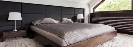 Bed headboard idea- inspiring contemporary bedroom with marriage bed