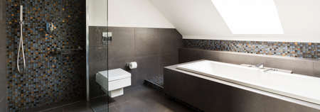 Concrete modern bathroom design with little decorative tiles 写真素材