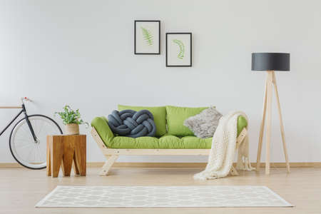 Stylish bright interior in eco natural design with handmade pillows, knit blanket wooden green sofa, plants and botanic posters