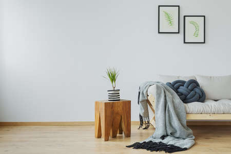 Cozy home decor with natural tree stump table, plant, posters and soft gray cotton blanket lying on the wooden beige couch 版權商用圖片