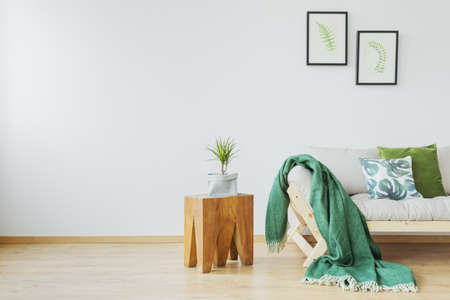 Copy space of simple eco studio interior with tree stump side table, green blanket, wooden sofa and posters